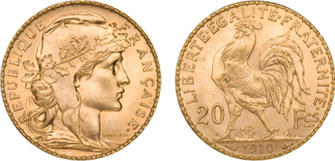 French Gold Rooster Gold Coin