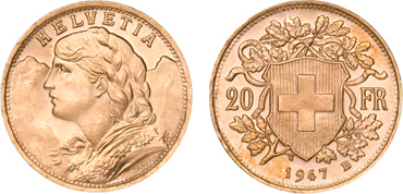 Swiss Franc Gold Coin