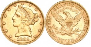 1881 5 Dollar Liberty Gold Coin